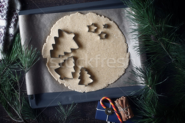 Christmas cookie cutters on the raw dough on the backing tray top view Stock photo © Karpenkovdenis