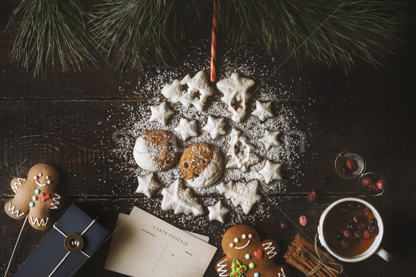 Christmas ball made by  cookies on the wooden background  with different Christmas attributes Stock photo © Karpenkovdenis