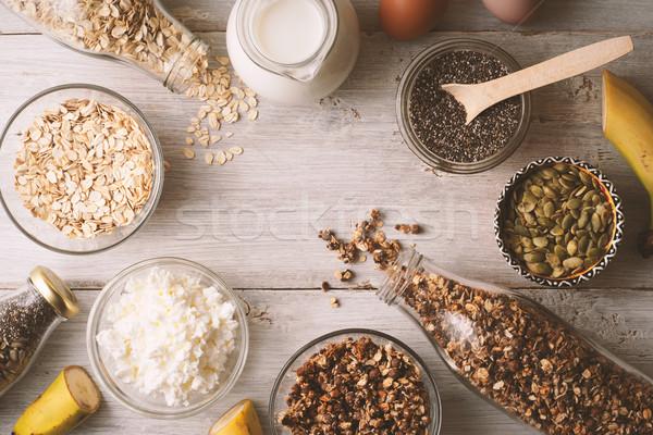 Sağlıklı gıda beyaz ahşap masa arka plan Stok fotoğraf © Karpenkovdenis