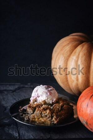 Pumpkin dump cake with ice cream on the stone table horizontal Stock photo © Karpenkovdenis