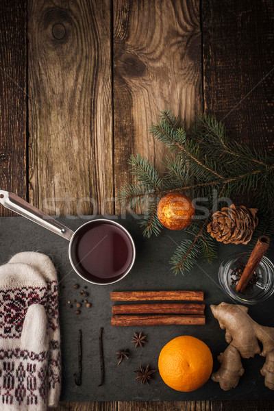 Ayarlamak hazırlık şarap dikey cam turuncu Stok fotoğraf © Karpenkovdenis