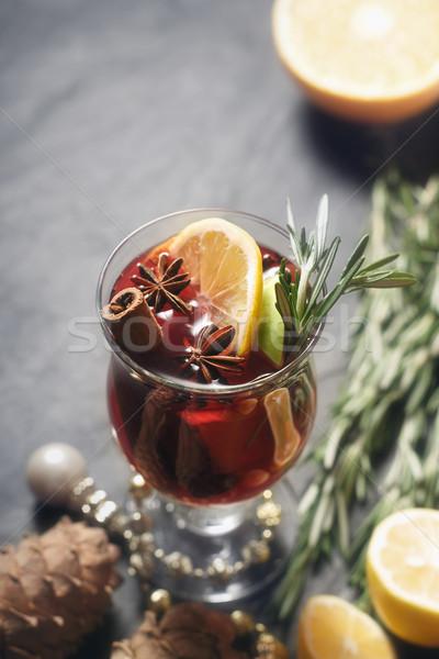 ワイン 異なる スパイス 垂直 ガラス オレンジ ストックフォト © Karpenkovdenis