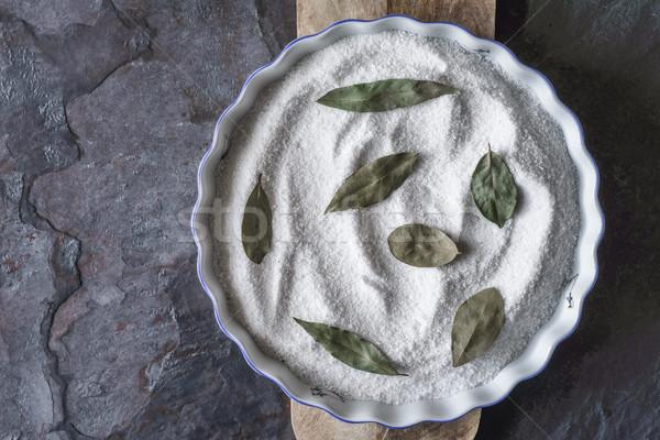 Sütés edény só babérlevél kő felső Stock fotó © Karpenkovdenis