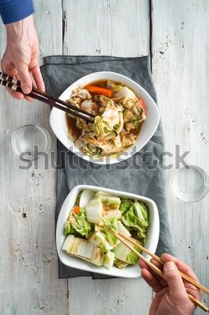 Сток-фото: женщину · еды · спагетти · сыра · чаши
