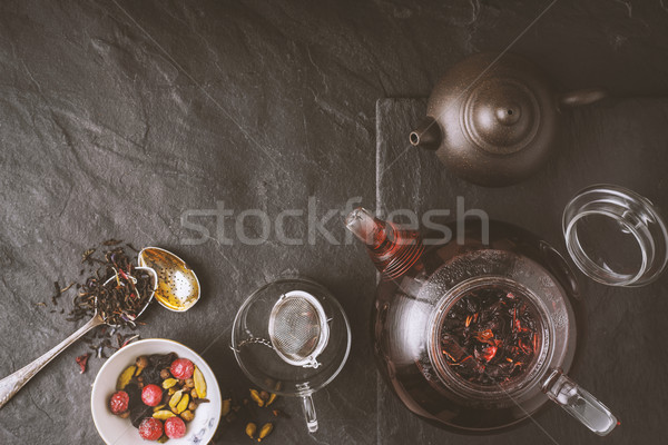 Different tea  on the stone background top view Stock photo © Karpenkovdenis