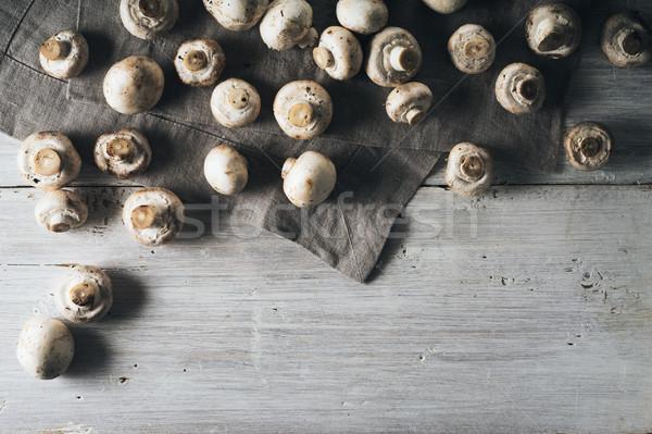 キノコ 白 木製のテーブル 水平な 健康 ファーム ストックフォト © Karpenkovdenis