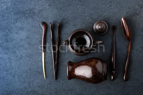 Szett tea szertartás kék kő asztal Stock fotó © Karpenkovdenis