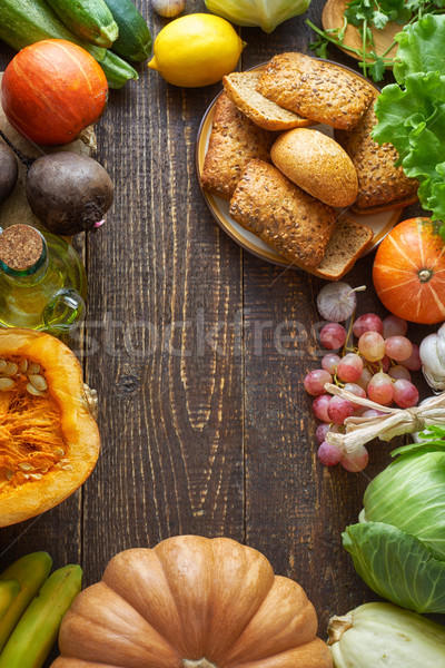 フレーム 異なる 野菜 穀物 パン 木製のテーブル ストックフォト © Karpenkovdenis