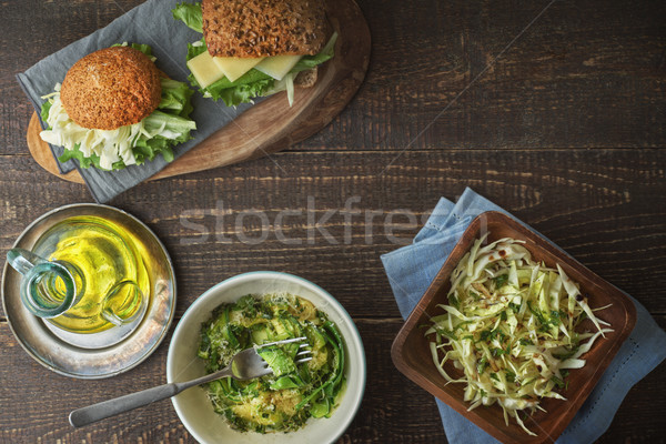 Different healthy snacks  on the wooden table Stock photo © Karpenkovdenis