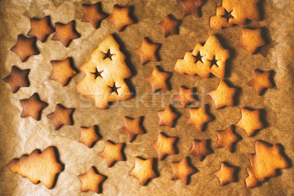 Natale cookies pergamena top view inverno Foto d'archivio © Karpenkovdenis