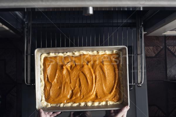 カボチャ パイ オーブン 水平な 金属 キッチン ストックフォト © Karpenkovdenis