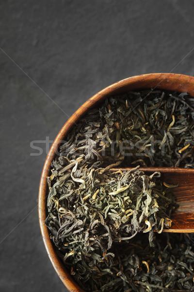 茶 葉 木製 ボウル 暗い 石 ストックフォト © Karpenkovdenis