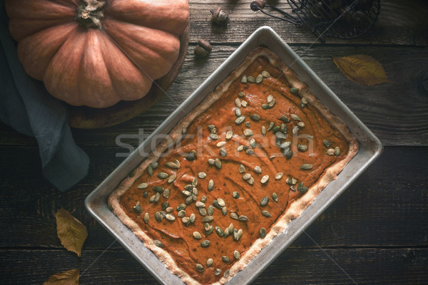 Pumpkin pie on the  wooden table with autumn gift Stock photo © Karpenkovdenis
