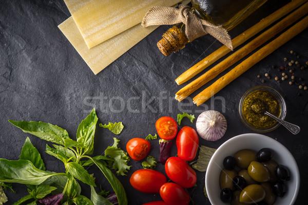 のイタリア料理 静物 先頭 表示 ガラス 背景 ストックフォト © Karpenkovdenis