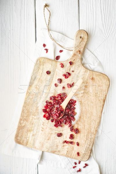 ガラス ボウル 白 木製のテーブル ストックフォト © Karpenkovdenis
