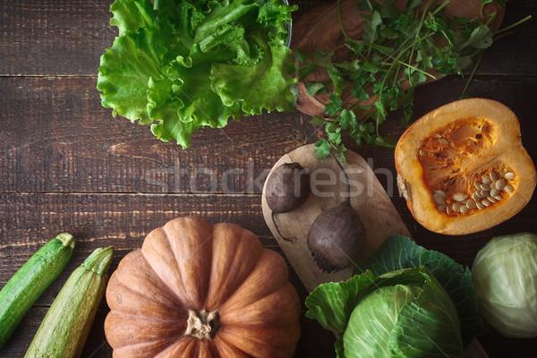 野菜 古い 木製のテーブル 先頭 表示 ストックフォト © Karpenkovdenis