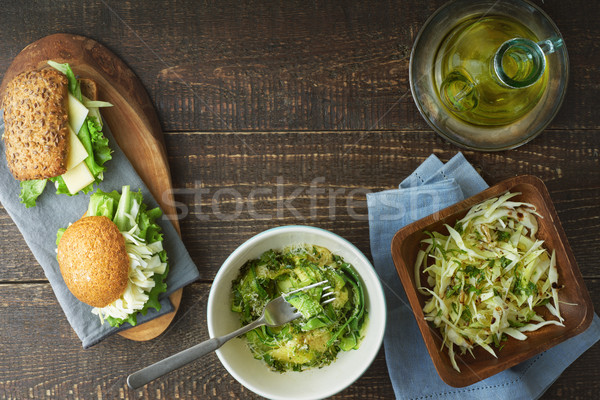 Set of healthy snacks on the wooden table top view Stock photo © Karpenkovdenis