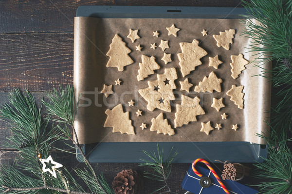 Christmas cookies dienblad verschillend top Stockfoto © Karpenkovdenis
