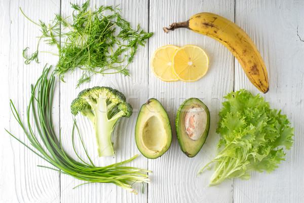Green rustic and banana on white boards Stock photo © Karpenkovdenis