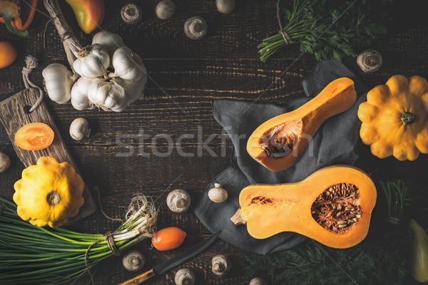 Kabak farklı sebze eski ahşap masa sağlık Stok fotoğraf © Karpenkovdenis