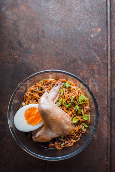 Soup Ramen noodle with chicken wing on the old table Stock photo © Karpenkovdenis