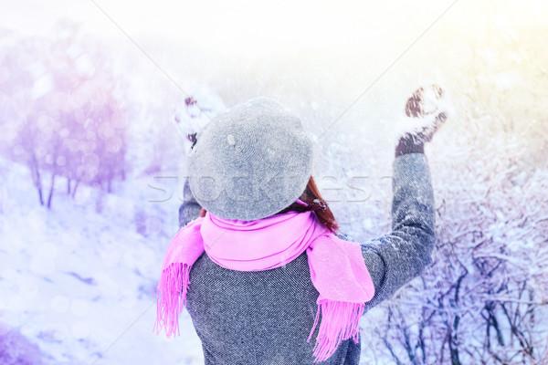 Kadın kar kış orman gökyüzü manzara Stok fotoğraf © Karpenkovdenis