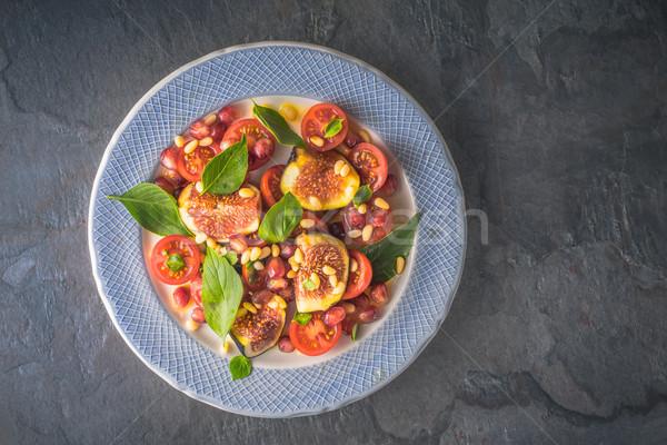 Meyve salatası incir kiraz domates seramik plaka taş Stok fotoğraf © Karpenkovdenis