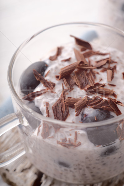 プリン ブドウ チョコレート ガラス カップ ストックフォト © Karpenkovdenis