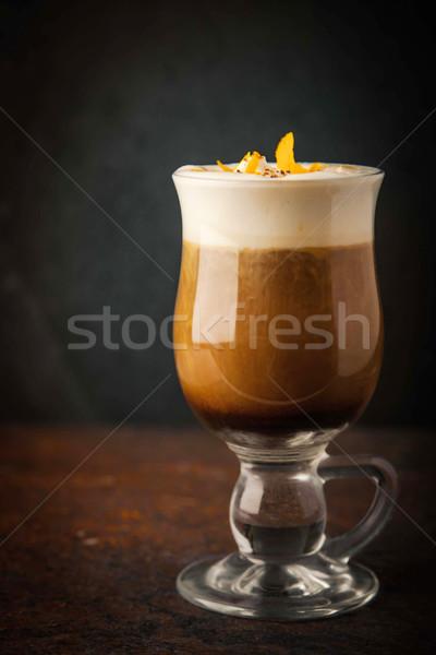 Irish coffee with orange peel Stock photo © Karpenkovdenis