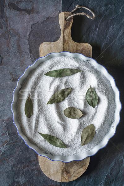 Sütés edény só babérlevél kő függőleges Stock fotó © Karpenkovdenis