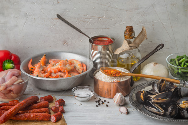 Ingredients for paella on the white scratched table horizontal Stock photo © Karpenkovdenis