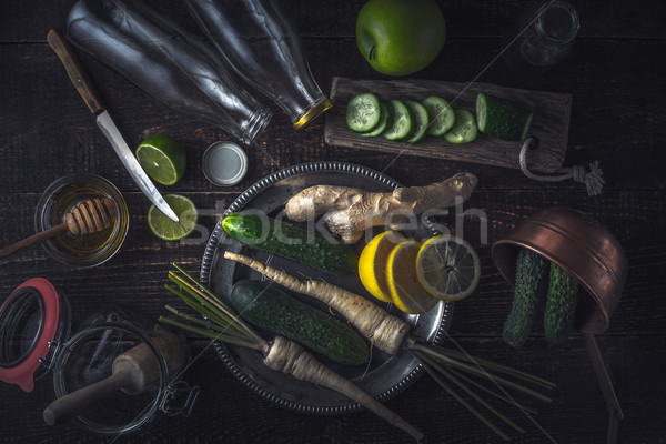 Ingredients for smoothie on the wooden table top view Stock photo © Karpenkovdenis