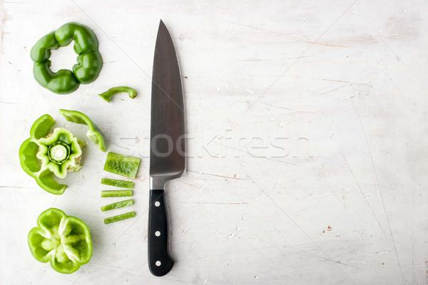 甘い 唐辛子 ナイフ 白 表 ストックフォト © Karpenkovdenis