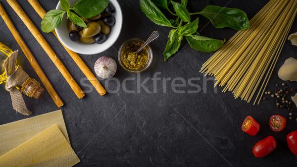 Set of Italian food on the black stone table wide screen Stock photo © Karpenkovdenis
