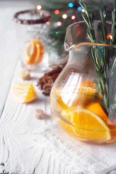 柑橘類 カクテル ガラス 白 木製のテーブル ストックフォト © Karpenkovdenis