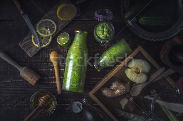 ボトル jarファイル グリーンスムージー 異なる 材料 木製 ストックフォト © Karpenkovdenis