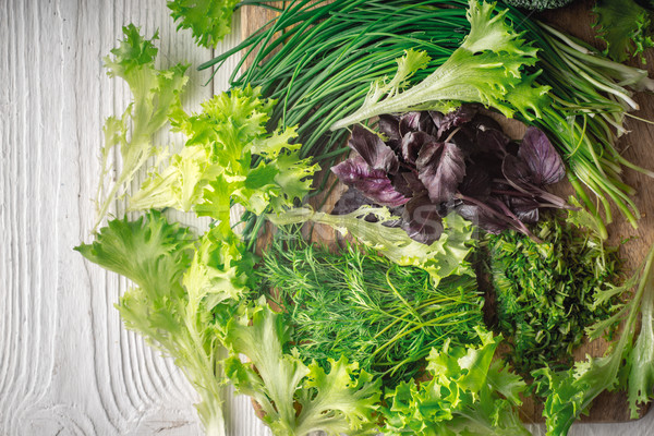 Köy salata fesleğen soğan yatay Stok fotoğraf © Karpenkovdenis