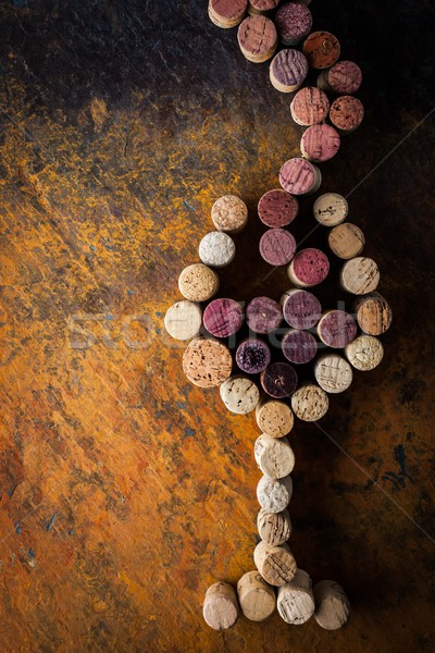 Glass of wine made by cork on the colorful background Stock photo © Karpenkovdenis
