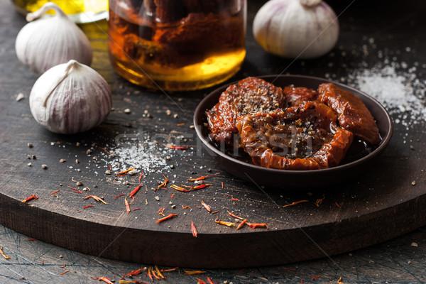 トマト セラミック プレート 木板 水平な 食品 ストックフォト © Karpenkovdenis