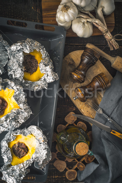 Stuffed pattypan on the  backing sheet vertical Stock photo © Karpenkovdenis
