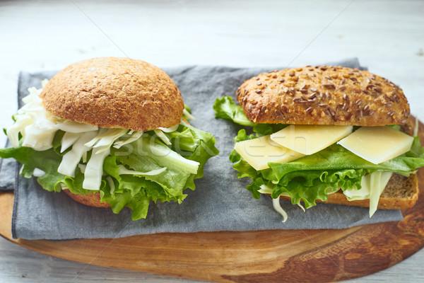 Vegetable sandwiches on the white wooden table  horizontal Stock photo © Karpenkovdenis