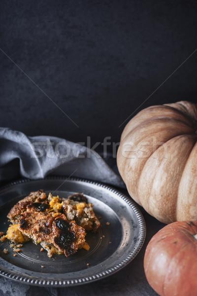 Pumpkin dump cake on the metal plate  vertical Stock photo © Karpenkovdenis