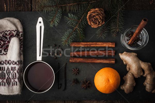 Set Vorbereitung Wein horizontal Glas orange Stock foto © Karpenkovdenis