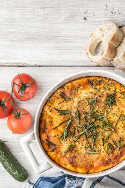 Moussaka in the white table with vegetable and bread vertical Stock photo © Karpenkovdenis
