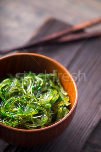 Chuka salad  in the wooden bowl  vertical Stock photo © Karpenkovdenis