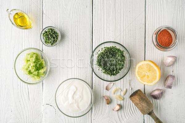Természetes joghurt különböző öntet fehér fa asztal Stock fotó © Karpenkovdenis