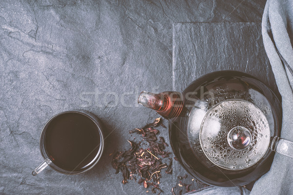 Teáskanna csésze tea kő felső kilátás Stock fotó © Karpenkovdenis