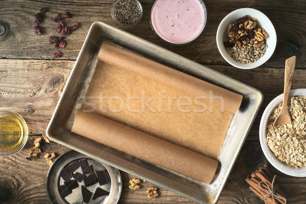 Set for preparation of granola on the wooden table top view Stock photo © Karpenkovdenis