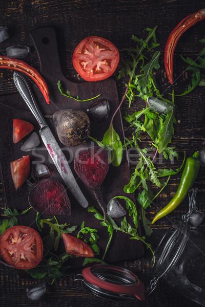 Stockfoto: Ingrediënten · plantaardige · smoothie · oude · houten · tafel · top