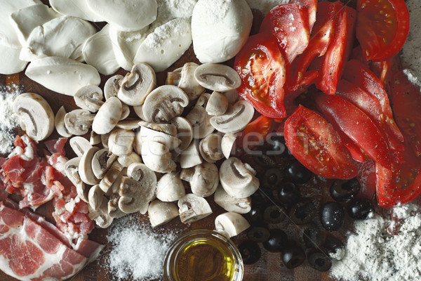 Ingredients for calzone top view Stock photo © Karpenkovdenis